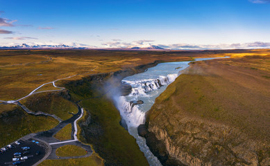 Wall Mural - Aerial view of the Gullfoss waterfall and the Olfusa river in southwest Iceland