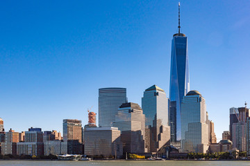 New York City, USA, One World Trade Center building in the urban