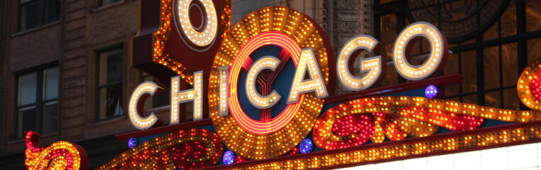Chicago Theatre neon sign, in the Loop / 2018 june