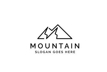 Simple modern mountain adventure logo design