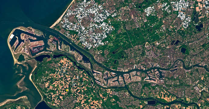 Satellite image of the port of Rotterdam, Netherlands. Contains modified Copernicus Sentinel data 2018.