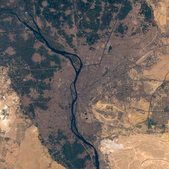 Foto op Plexiglas Zalm Satellite image of Cairo. Contains modified Copernicus Sentinel data 2019.