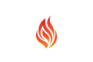 Red fire flame modern logo design. Abstract silhouette vector graphic