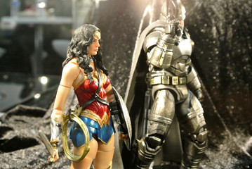 KUALA LUMPUR, MALAYSIA -MARCH 24, 2017: Fiction character of JUSTICE LEAGUE from DC movies and comics. JUSTICE LEAGUE action figure displayed by the collector for the public.