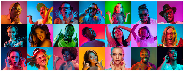 Close up portrait of young people in neon light. Human emotions, facial expression. People, astonished, screaming and crazy in happiness. Creative bright collage made of different photos of 15 models.