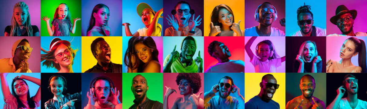 Close up portrait of young people in neon light. Human emotions, facial expression. People, astonished, screaming and crazy in happiness. Creative bright collage made of different photos of 17 models.