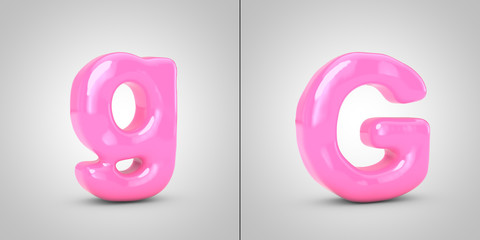 Bubble Gum alphabet letter G isolated on white background