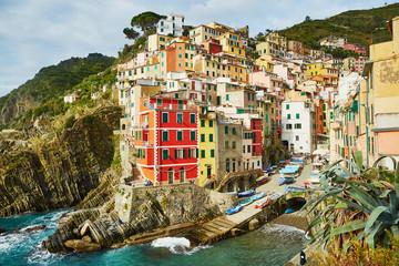 Fototapeta Colorful houses in Riomaggiore, Italy