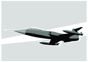 Printed roller blinds Military Fighter jet in the sky. F-104 Starfighter. vector image for illustration. Vector template.