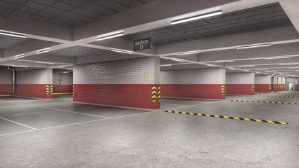 Wall Mural - Large empty underground parking with red and white brickwall, 3d illustration