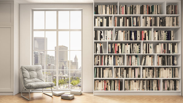 Reading place with bookshelves, wooden floor