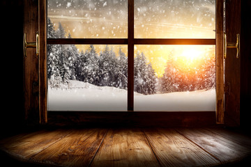 Foto auf Acrylglas Beige Window wooden sill of free space for your decoration and winter landscape.