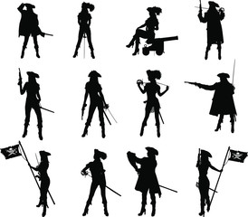 Set of silhouettes of a sexy slim pirate girl with different weapons in different poses and clothes