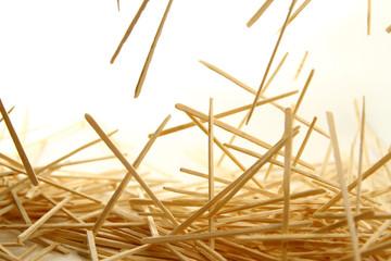 Fototapeta Bamboo toothpick on white background obraz