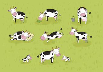 Set with cute cartoon cow. Farm animals