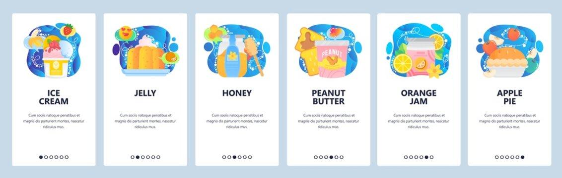 Mobile app onboarding screens. Cafe dessert menu, bakery sweet food, ice cream, jam, apple pie, honey. Menu vector banner template for website and mobile development. Web site design flat illustration