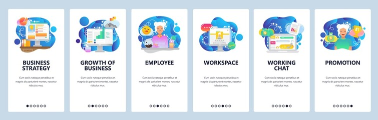 Wall Mural - Mobile app onboarding screens. Business plan, financial chart, workspace, chat support. Menu vector banner template for website and mobile development. Web site design flat illustration