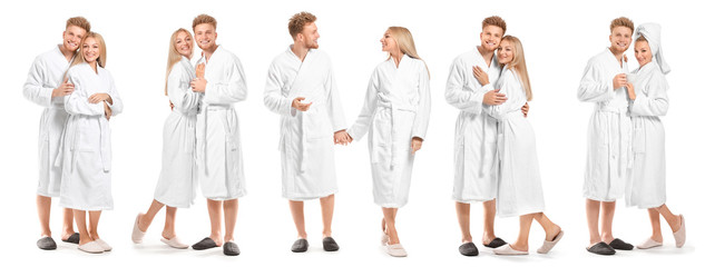 Wall Mural - Collage with young couple in bathrobes on white background