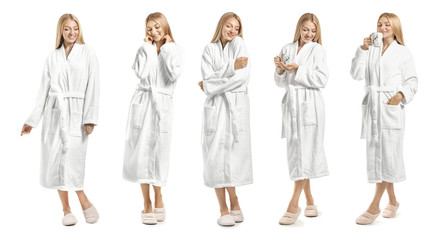 Wall Mural - Collage with young woman in bathrobe on white background