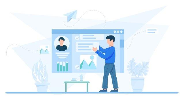Conceptual illustration of profile editing. Man updating information on his social media profile, flat vector illustration, clip art