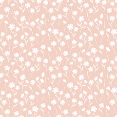 Cute ditsy floral seamless pattern, hand drawn lovely flowers, great for textiles, wrapping, banners, wallpapers - vector surface design
