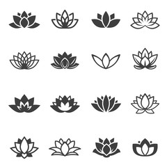 Lotus flowers black glyph and linear icons vector set