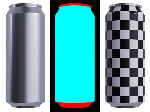 Alloy Beer or Soda can. 17 oz or 16 oz (500 ml, 50 cl, 0.5 l) Volume. Isolated High Resolution 3D Render on a White. The Layout Kit Includes Alphas and Checker for Accurate Labeling.