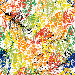 seamless background pattern, with leaves, paint strokes and splashes