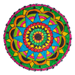 Colorful oriental decorative hand drawn mandala pattern with clipping path