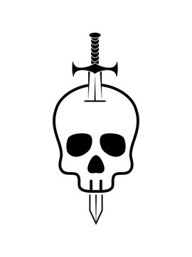 Skull and Dagger icon isolated on white background. Skull and Dagger icon simple sign. Skull and Dagger icon trendy and modern symbol for graphic and web design. Vector illustration
