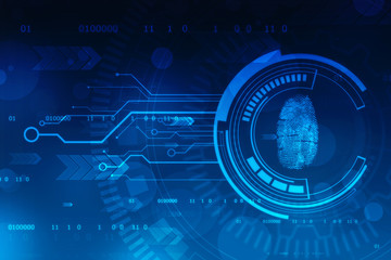 Fingerprint Scanning Identification System. Biometric Authorization and Business Security Concept, fingerprint Scanning on digital screen. cyber security Concept