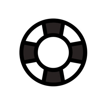Life ring icon vector on white background. Life preserver icon. Life saving sign. Life ring clip art pictogram.