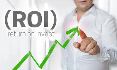 Return on invest Touchscreen Konzept wird von Mann bedient