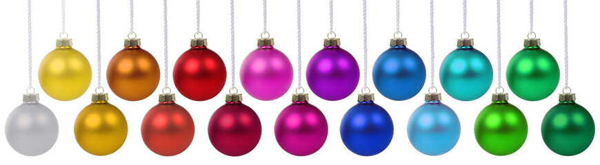 Christmas balls many baubles banner colors color colorful hanging isolated