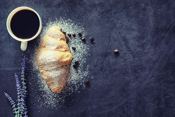 Fresh pastries on the table. French flavored croissant.