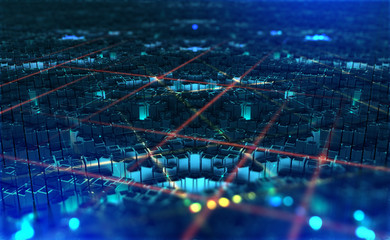 Digital city. Global Cyberspace. 3D illustration of wireless internet technologies. Database, blockchain network, digital evolution