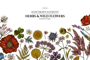 Floral design with colored shepherd's purse, heather, fern, wild garlic, clover, globethistle, gentiana, astilbe, craspedia, lagurus, black caraway, chamomile, dandelion, poppy flower, lily of the Wall mural