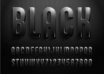 3d font from dark gradient, trendy gloomy alphabet sans serif, modern condensed letters and numbers for your calendar, flyer, poster, banner, vector illustration 10eps.