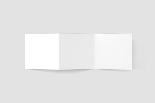Square Z Fold Trifold Blank Mockup