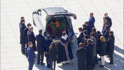 A still image taken from a video shows the coffin with the remains of Spanish late dictator Francisco Franco in a hearse at The Valle de los Caidos (The Valley of the Fallen) in San Lorenzo de El Escorial