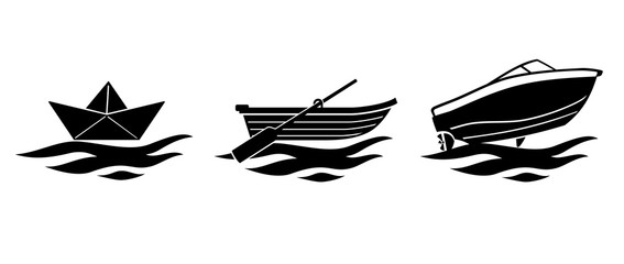 Small Boat Evolution Silhouette