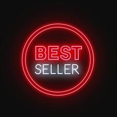 Fototapete - Best seller neon sign on black background. Vector illustration.