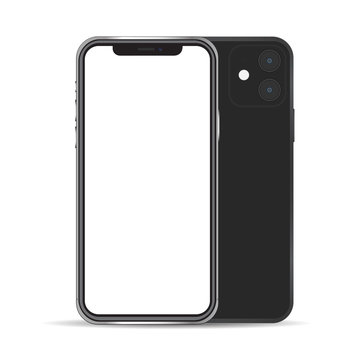 New smartphone mockup black color isolated on background
