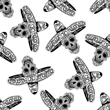 Black skull in sombrero from the line ornament vector seamless pattern. Stylized skull seamless texture. Halloween.