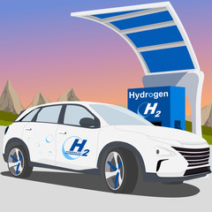 Hydrogen car charge (Sport utility vehicle - suv) - Fuel cell vehicle - hydrogen-powered fuel cell - next fuel (white)