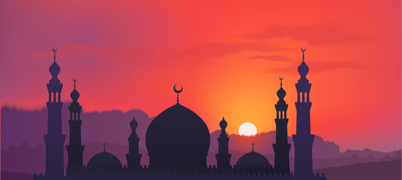 Dark mosque silhouette on colorful red and violet sunset sky and clouds background, vector banner illustration