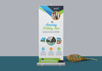Roll Up Banner Layout with Blue and Green Elements