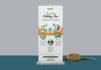 Roll Up Banner Layout with Orange Accents