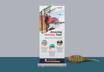 Roll Up Banner Layout with Brush Elements