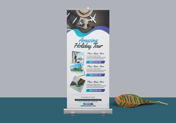 Roll Up Banner Layout with Blue Gradient Elements